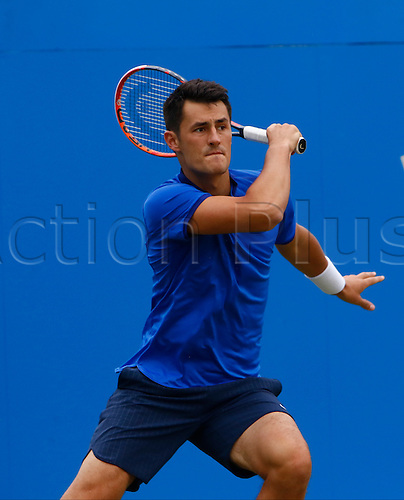18.06.2016. Queens Club, London, England. Aegon Queens Tennis Championships Day Six. Bernard Tomic (AUS) hits a forehand in his semi final match against Milos Raonic (CAN).  Raonic won in straight sets 6-4, 6-4 and meets Andy Murray (GBR) in tomorrow's final.