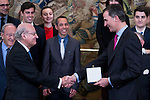 King Felipe VI of Spain receive in audience to a representation of the Royal Institute of European Studies for delivery of the gold medal and badge of the Royal Institute at Zarzuela Palace in Madrid.  May 11, 2016. (ALTERPHOTOS/BorjaB.Hojas)