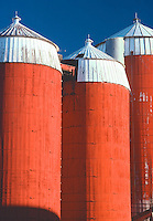 Colorful farm silos at Columbia in northern New Hampshire. Photograph by Peter E. Randall.