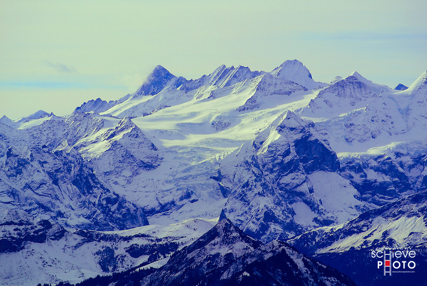 A view of the Swiss Alps from Mount Pilatus.