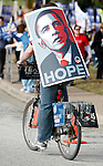 Supporters of Democratic Presidential Nominees Hillary Clinton and Barack Obama rally on the University of Texas campus near the site for the Austin Democratic Debate on February 21, 2008 in Austin, Texas.