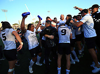 TORONTO, ON - SEPTEMBER 09:  Fuifui Moimoi #8 of Toronto Wolfpack douses Head Coach Paul Rowley in water as teammates celebrate victory over Barrow Raiders in a Kingstone Press League 1 Super 8s match at Lamport Stadium on September 9, 2017 in Toronto, Canada.  (Photo by Vaughn Ridley/SWpix.com)