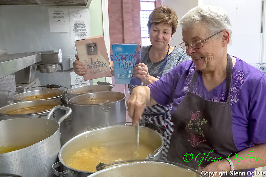 Sharron Chappell, of Sarnia, a member of Circle Six group of Paterson Memorial Presbyterian Church stirring soup for fall bazaar. <br /> Held Nov. 17 from 9:30 a.m. to 12 noon featuring a soup and book sale, crafts, soups, turkey pies. The sale is to help raise funds for church activities.