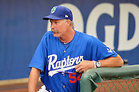 Ogden Raptors manager Jack McDowell (54) prior to the game against the Missoula Osprey in Pioneer League action at Lindquist Field on August 5, 2014 in Ogden, Utah.  (Stephen Smith/Four Seam Images)
