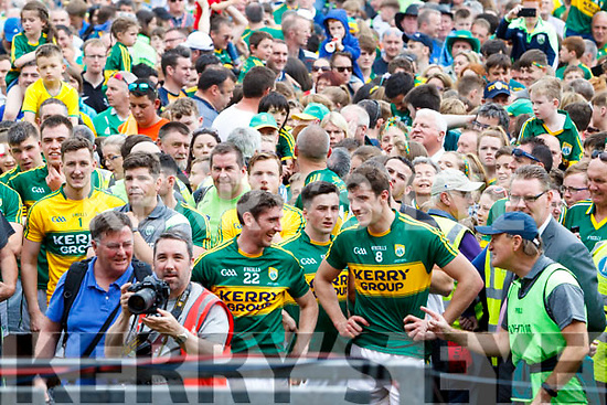 Kerry Players celebrate their victory over Cork in the Munster Senior Football Final at Fitzgerald Stadium on Sunday.