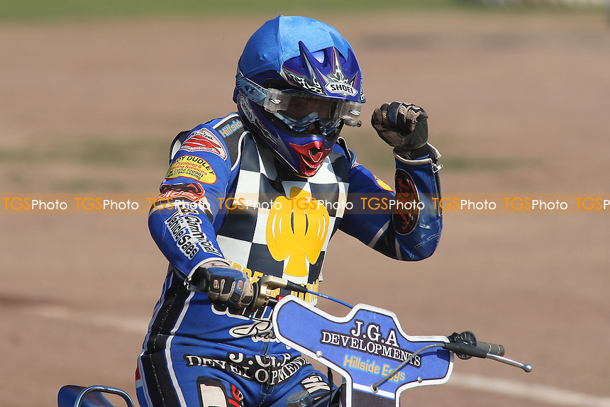 Heat 3: Ben Hopwood celebrates a 5-1 for Hackney - Hackney Hawks vs Stoke Potters - National League Speedway Meeting at Arena Essex Raceway - 22/04/11 - MANDATORY CREDIT: Gavin Ellis/TGSPHOTO - Self billing applies where appropriate - Tel: 0845 094 6026