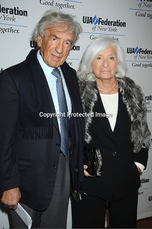 Elie Weisel and wife Marion Weisel attends the UJA-Federation of New York's Leadership Awards  Steve J Ross Humanitarian Award Dinner honoring David Zaslav, President & CEO of Discovery on April 3, 2012 at 583 Park Avenue in New York City.