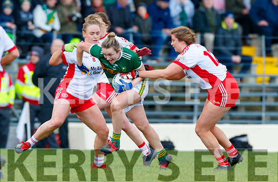 Niamh Carmody, Kerry in action against Aoibhinn McHugh, Tyrone during the Lidl Ladies National Football League Division 2 Round 4 match between Kerry and Tyrone at Fitzgerald Stadium on Sunday.