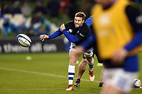 Will Chudley of Bath Rugby in action during the pre-match warm-up. Heineken Champions Cup match, between Leinster Rugby and Bath Rugby on December 15, 2018 at the Aviva Stadium in Dublin, Republic of Ireland. Photo by: Patrick Khachfe / Onside Images