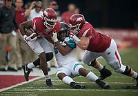 NWA Democrat-Gazette/CHARLIE KAIJO Coastal Carolina Chanticleers linebacker Shane Johnson (9) pushes Arkansas Razorbacks wide receiver T.J. Hammonds (6) out of bounds during a football game on Saturday, November 4, 2017 at Razorback Stadium in Fayetteville