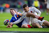10th February 2019, Twickenham Stadium, London, England; Guinness Six Nations Rugby, England versus France; Jonny May of England gets a hand to the loose ball