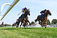 Winner of The AJN Steelstock Beckie Lawrence Handicap       Awesomedude (red/black) ridden by Cieron Fallon and trained by James Ferguson  during Horse Racing at Salisbury Racecourse on 9th August 2020