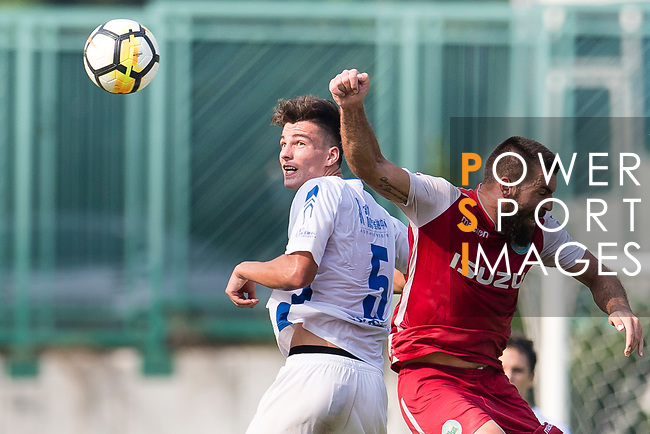 Lilley Nunez of R&F F.C (L) fights for the ball with Marc Martinez of Kwoon Chung Southern (R) during the week three Premier League match between Kwoon Chung Southern and R&F at Aberdeen Sports Ground on September 16, 2017 in Hong Kong, China. Photo by Marcio Rodrigo Machado / Power Sport Images