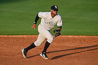 Tampa Yankees second baseman Angelo Gumbs (21) during a game against the Lakeland Flying Tigers on April 5, 2014 at Joker Marchant Stadium in Lakeland, Florida.  Lakeland defeated Tampa 3-0.  (Mike Janes/Four Seam Images)