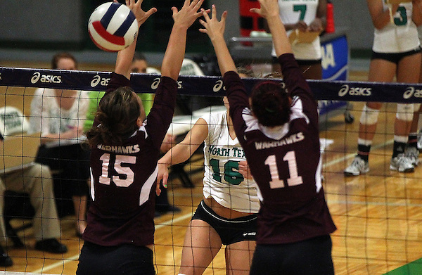 Denton, TX - SEPTEMBER 23: Kaci Eaton #16 of the University of North Texas Mean Green Volleyball  in action against the University of Louisiana at Monroe at University of North Texas Volleyball Complex in Denton on September 23, 2012 in Denton, Texas. (Photo by Rick Yeatts)