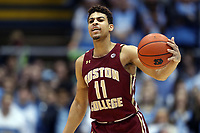 CHAPEL HILL, NC - FEBRUARY 1: Derryck Thronton #11 of Boston College dribbles the ball during a game between Boston College and North Carolina at Dean E. Smith Center on February 1, 2020 in Chapel Hill, North Carolina.