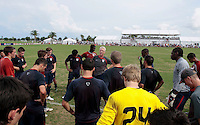 U-20 MNT head coach Thomas Rongen talks with his players. U.S. U-20 Men Intrasquad Scrimmage during day three of the US Soccer Development Academy  Spring Showcase in Sarasota, FL, on May 24, 2009.
