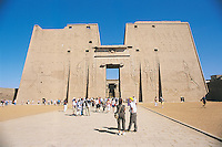The two towers of the great entrance pylon at Edfu's Temple of Horus. This enormous structure was built by Ptolemy XII (r. 80 to 51 BC), the father of Cleopatra.