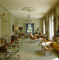 The muted colour scheme of the formal salon took its inspiration from the Amalienburg Palace in Munich