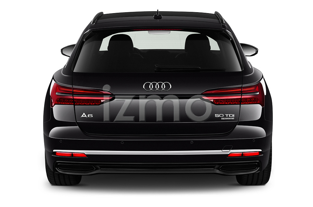 Straight rear view of a 2019 Audi A6 Avant Sport 5 Door Wagon stock images