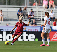 FRISCO, TX - MARCH 11: Rachel Daly #2 of England clears the ball from the backfield during a game between England and Spain at Toyota Stadium on March 11, 2020 in Frisco, Texas.