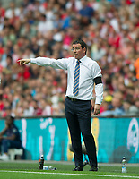 Blackpool's manager Gary Bowyer  during the Sky Bet League 2 PLAY OFF FINAL match between Exeter City and Blackpool at Wembley Stadium, London, England on 28 May 2017. Photo by Andrew Aleksiejczuk.
