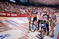 Mark Cavendish (GBR) wins his derny race of the day behind derny rider Michel Vaarten<br /> <br /> zesdaagse Gent 2019 - 2019 Ghent 6 (BEL)<br /> day 2<br /> <br /> ©kramon