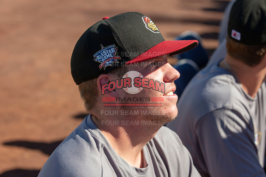 Seth Elledge (35) of the Modesto Nuts prior to the 2018 California League All-Star Game at The Hangar on June 19, 2018 in Lancaster, California. The North All-Stars defeated the South All-Stars 8-1.  (Donn Parris/Four Seam Images)