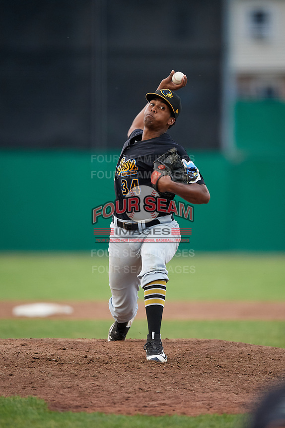 West Virginia Black Bears relief pitcher Francis Del Orbe (34) delivers a pitch during a game against the Batavia Muckdogs on July 2, 2018 at Dwyer Stadium in Batavia, New York.  West Virginia defeated Batavia 3-1.  (Mike Janes/Four Seam Images)