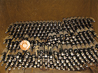 Bottles of 1964 Rosso Wine in the cellar of estate of Le Velette, Orvieto, Ital