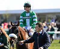 14h April 2018, Aintree Racecourse, Liverpool, England; The 2018 Grand National horse racing festival sponsored by Randox Health, day 3; Donagh Meyler on Paper Lantern after finishing placed in The Betway Handicap Steeple Chase