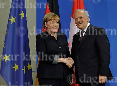 November 02-16,Chancellery,Berlin,Germany<br /> German Chancellor Angela Merkel shakes hands with President Johann Schneider-Ammann of Switzerland .