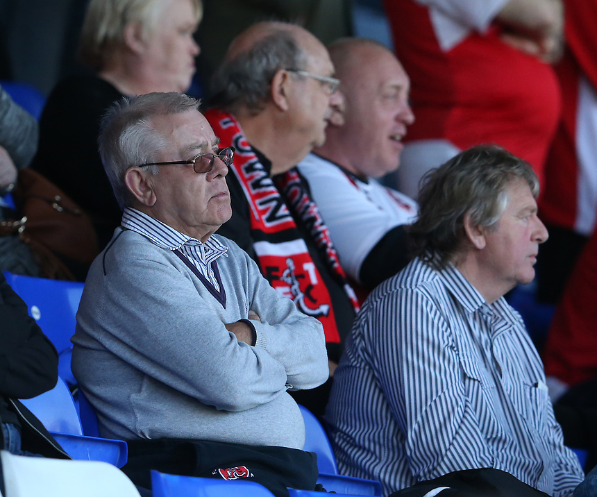 Dejected Fleetwood Town fans watch as their team lose 2-0<br /> <br /> Photographer Stephen White/CameraSport<br /> <br /> The EFL Sky Bet League One - Oldham Athletic v Fleetwood Town - Saturday 8th April 2017 - SportsDirect.com Park - Oldham<br /> <br /> World Copyright &copy; 2017 CameraSport. All rights reserved. 43 Linden Ave. Countesthorpe. Leicester. England. LE8 5PG - Tel: +44 (0) 116 277 4147 - admin@camerasport.com - www.camerasport.com