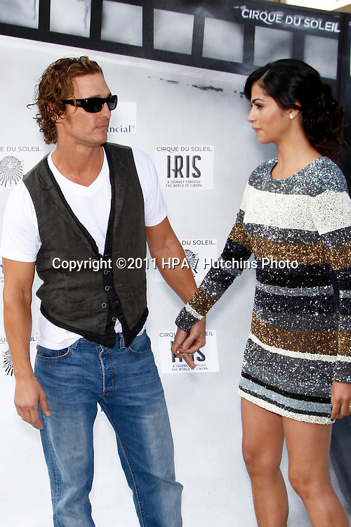 "LOS ANGELES - SEPT 25:  Matthew McConaughey; Camila Alves arriving at the ""IRIS, A Journey Through the World of Cinema"" by Cirque du Soleil Premiere at Kodak Theater on September 25, 2011 in Los Angeles, CA"
