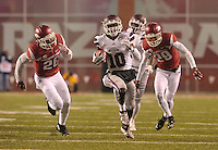 NWA Democrat-Gazette/MICHAEL WOODS • Mississippi State receiver Brandon Holloway runs for a big gain in the 1st quarter of Saturday nights game at Razorback Stadium November 21, 2015.