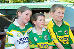 Up Kerry : Kyra, Calvin & Gavin O'Sullivan  from Finuge enjoying the All Ireland at McCarthy's Bar, Finuge on Sunday last.