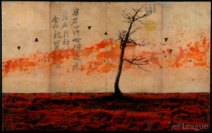 Red encaustic painting or red landscape with antique map of china. Bare tree with birds.