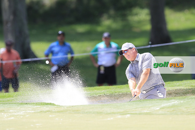 D.A. Points (USA) chips from a bunker at the 13th green during Thursday's Round 1 of the 2017 PGA Championship held at Quail Hollow Golf Club, Charlotte, North Carolina, USA. 10th August 2017.<br /> Picture: Eoin Clarke | Golffile<br /> <br /> <br /> All photos usage must carry mandatory copyright credit (&copy; Golffile | Eoin Clarke)