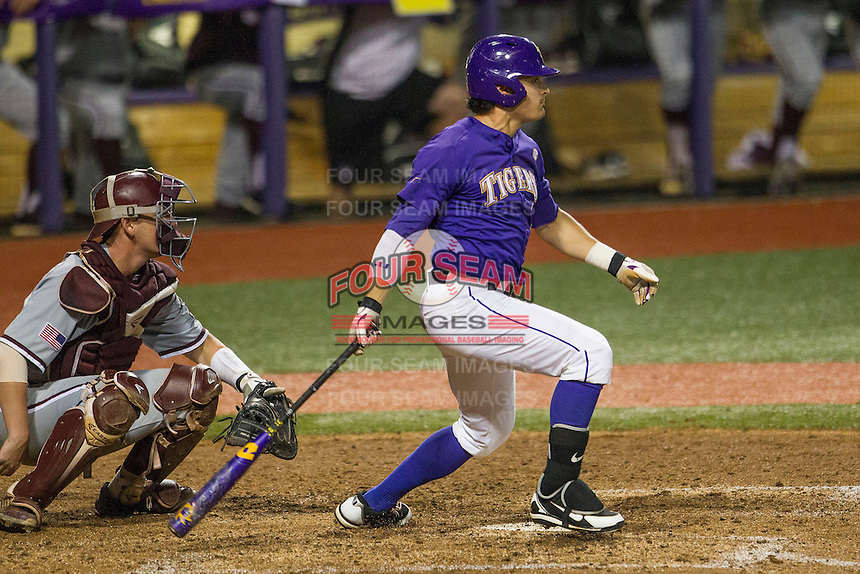 LSU Tigers outfielder Chris Sciambra (5) follows through on his swing during a Southeastern Conference baseball game against the Texas A&M Aggies on April 24, 2015 at Alex Box Stadium in Baton Rouge, Louisiana. LSU defeated Texas A&M 9-6. (Andrew Woolley/Four Seam Images)