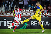 14th September 2017, Red Star Stadium, Belgrade, Serbia; UEFA Europa League Group stage, Red Star Belgrade versus BATE; Midfielder Nemanja Radonjic of Red Star Belgrade shoots as a defender comes in to block