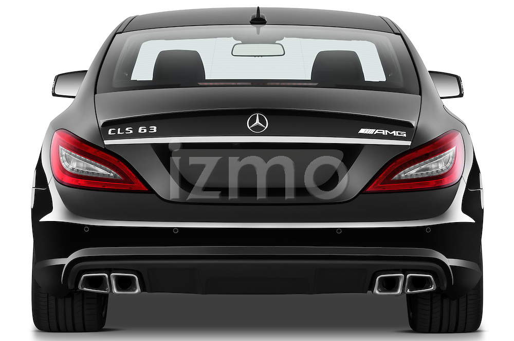 Straight rear view of a photo of a 2013 Mercedes CLS Class AMG sedan