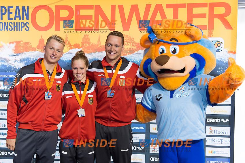 Team GERMANY silver medal - WUNRAM Finnia, MUFFELS Rob, WASCHBURGER Andreas<br /> Hoorn, Netherlands <br /> LEN 2016 European Open Water Swimming Championships <br /> Open Water Swimming<br /> 5km Team Event Mixed<br /> Day 03 13-07-2016<br /> Photo Giorgio Perottino/Deepbluemedia/Insidefoto
