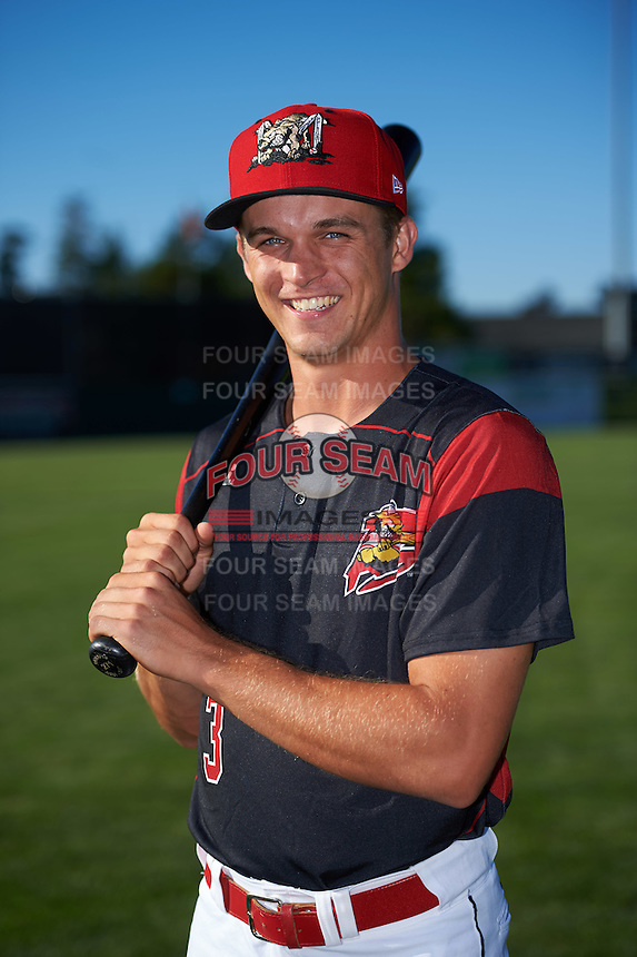 Batavia Muckdogs Walker Olis (3) poses for a photo before a game against the Hudson Valley Renegades on August 2, 2016 at Dwyer Stadium in Batavia, New York.  Batavia defeated Hudson Valley 2-1. (Mike Janes/Four Seam Images)