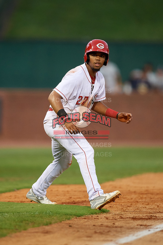 Greeneville Reds left fielder Reniel Ozuna (27) leads off third base during a game against the Pulaski Yankees on July 27, 2018 at Pioneer Park in Tusculum, Tennessee.  Greeneville defeated Pulaski 3-2.  (Mike Janes/Four Seam Images)