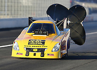 Feb 12, 2016; Pomona, CA, USA; NHRA funny car driver Bob Bode during qualifying for the Winternationals at Auto Club Raceway at Pomona. Mandatory Credit: Mark J. Rebilas-USA TODAY Sports
