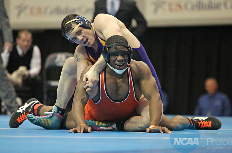 06 MAR 2010: Byron Tate of Wartburg wrestles with Ryan Malo of Williams College in their 197 pound match during the Division III Men's Wrestling Championship held at the U.S. Cellular Center in Cedar Rapids, IA. Tate defeated Malo 8-5 to win the 197lb national title. Brian Ray/NCAA Photos