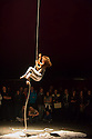 Edinburgh, UK. 12.08.2014.  NoFitState Circus perform their show BIANCO, in their Grand Chapiteau in Fountainbridge, to a rapt audience, at the Edinburgh Festival Fringe. Picture shows: Aerialist, Elena Burani. © Jane Hobson.