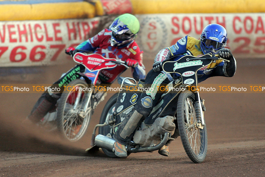 Eastbourne Eagles vs Arena Essex Hammers - Elite League 'A' - 18/06/05 - Adam Shields (blue) stays in front of Arena's Paul Hurry (yellow) in Heat 10 - (Gavin Ellis 2005)