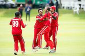 ICC World T20 Qualifier - GROUP B MATCH - Afghanistan v Oman at Heriots CC, Edinburgh - Oman celebrate with Mehran Khan — credit @ICC/Donald MacLeod - 15.07.15 - 07702 319 738 -clanmacleod@btinternet.com - www.donald-macleod.com