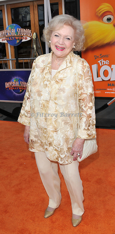 Betty White at the Dr. Seuss The Lorax Premiere held at  Universal Studios  Hollywood, Universal City, CA.. February 19, 2012